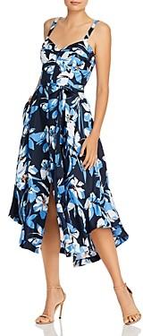 Milly Silk Hibiscus Print Bustier Dress