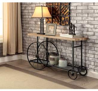 Walker Edison Benzara Sofa Console Table With Wooden Top and Metal Wheels Base,Sand Black