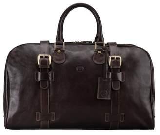 Maxwell Scott Bags Maxwell Scott Italian Leather Medium Weekend Bag - Flerom Brown