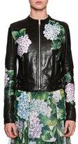 Dolce & Gabbana Hydrangea Leather Biker Jacket, Black