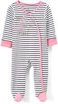 Boppy White & Black Stripe 'Happy' Footie - Infant