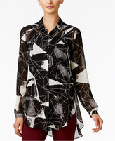 Alfani Printed Button-Front Blouse, Only at Macy's