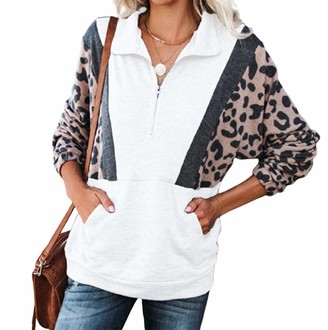 Yuanyongtao Women 1/4 Zip Up Stand Neck Long Sleeve Sweatshirt Leopard Printed Loose Casual Pullover Tops White