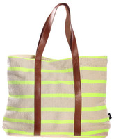 Fab Canvas Leather Tote Green