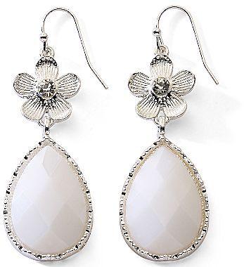 JCPenney White & Silvertone Floral Teardrop Earrings