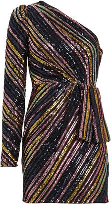 Self-Portrait Self Portrait Striped Sequin One-Shoulder Dress