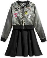 Beautees 2-Pc. Satin Bomber Jacket, Dress, & Necklace Set, Big Girls (7-16)