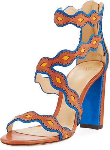 Alexandre Birman Embroidered Strappy Sandal