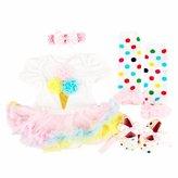 DQdq Baby Girls' First Birthday Tutu Dress Costume 4PCS Clothing Sets