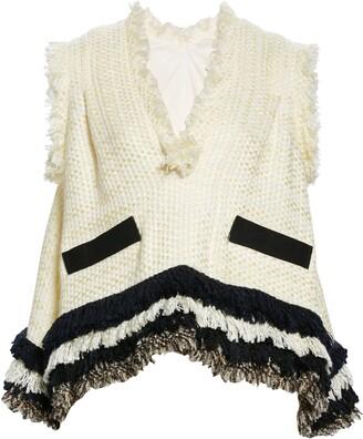 Sacai Tweed Sleeveless V-Neck Pullover