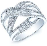 Ice 1 CT TW Pave-Set Diamond 14K White Gold Crossover Ring