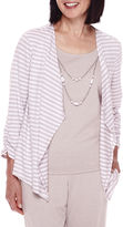 Alfred Dunner Acadia 3/4-Sleeve Stripe Layered Top