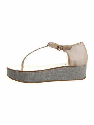 Brunello Cucinelli Leather T-Strap Sandals Purple