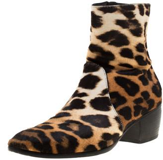 Giuseppe Zanotti Beige Leopard Print Calf Hair Ankle Boots Size 41.5
