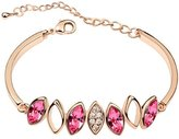Move&Moving Gold Swarovski Elements Crystal Diamond Accent Leaf Bracelet for women teenage girls, with a Gift Box, Ideal Gift for Birthdays / Christmas / Wedding-, Model: X15195