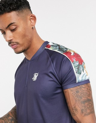 SikSilk short sleeve baseball jersey in navy with floral print