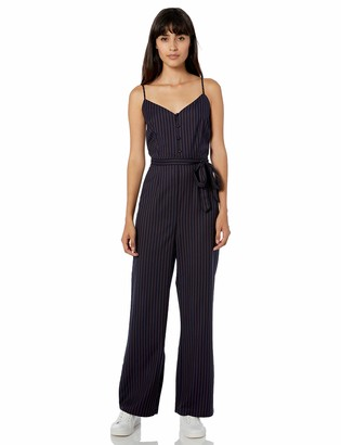 Cupcakes And Cashmere Women's Bonita Pinstriped Jumpsuit with Waist tie