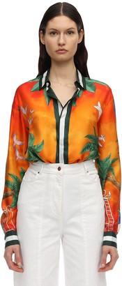 Casablanca Printed Tennis Club Sunset Silk Shirt