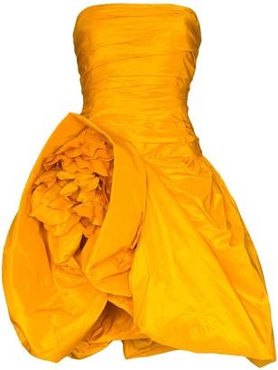 Oscar de la Renta Structured Strapless Mini Gown