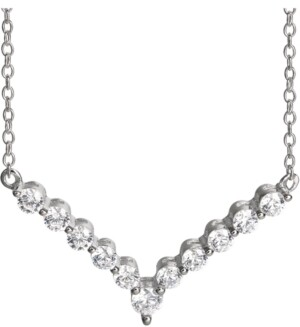 """Giani Bernini Cubic Zirconia V 18"""" Statement Necklace in Sterling Silver, Created for Macy's"""
