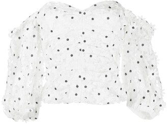 Self-Portrait Daisy Lace Puffed-Sleeve Top