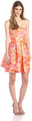 Trina Turk Women's Audrey Fiori Jacquard Strapless Dress