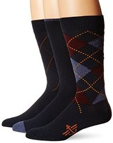 Dockers 3 Pack Classics Metro Argyle Crew Socks, Navy, 10-13 Sock/6-12 Shoe
