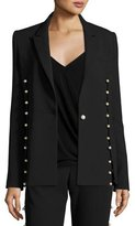 Prabal Gurung Pearly-Trim Long-Sleeve Jacket, Black