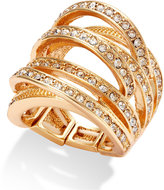 INC International Concepts Gold-Tone Crystal Crisscross Adjustable Ring
