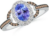 Angara.com Oval Tanzanite Halo Ring with Brown and White Diamond Accents in 14K White Gold