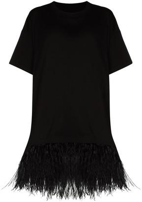 Marques Almeida feather-trim oversized T-shirt