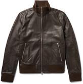 Officine Generale Laurent Full-Grain Leather Bomber Jacket