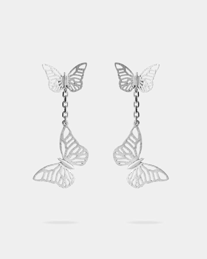 Ted Baker DUAP Double butterfly sterling silver drop earrings
