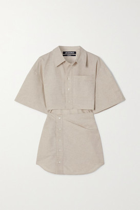 Jacquemus Arles Cutout Cotton And Linen-blend Mini Shirt Dress - Neutral