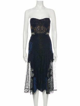 Jonathan Simkhai Lace Pattern Midi Length Dress Blue