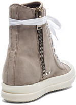 Rick Owens Leather Sneakers in Beige & White