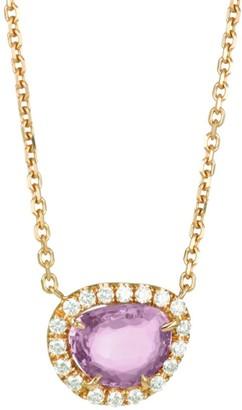 Anita Ko 18K Rose Gold Diamond & Pink Sapphire Pendant Necklace