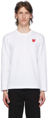 Comme des Garcons White and Red Heart Patch Long Sleeve T-Shirt