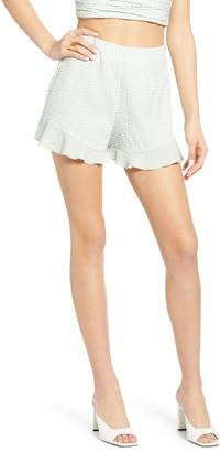Blank NYC Gingham Ruffle Hem Shorts