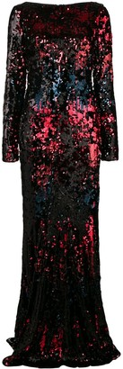 Talbot Runhof Sequin Fitted Long Dress