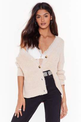 Nasty Gal Womens Did Knit Again Button-Down Cardigan - beige - L