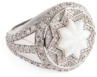 Narmeen White Gold, Diamond and Mother-of-Pearl Jahan Ring