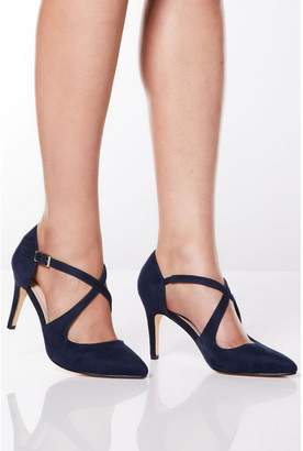 Quiz Navy Cross Strap Pointed Heeled Shoes