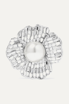 Kenneth Jay Lane Silver-tone, Crystal And Faux Pearl Brooch - one size