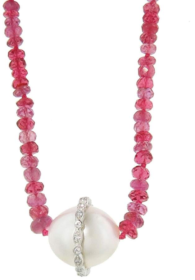 Cathy Waterman Long Pink Sapphire Strand Necklace with South Sea Pearl