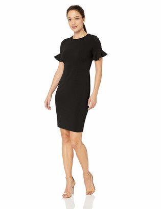 Calvin Klein Women's Short Flutter Sleeved Sheath Dress