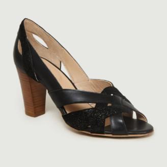 Monsieur Moustache - Black Suede Leather High Heels Pumps - leather | black | 37 - Black/Black