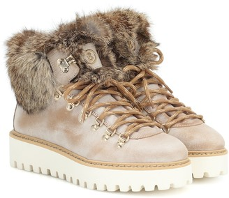 Bogner Oslo fur-trimmed leather snow boots