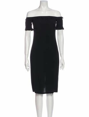 Reformation Off-The-Shoulder Knee-Length Dress Black