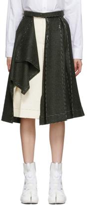 Maison Margiela Green and Beige Deconstructed Skirt